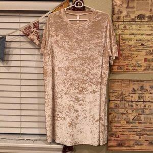 Dresses & Skirts - Crushed Velvet Blush T-Shirt Dress